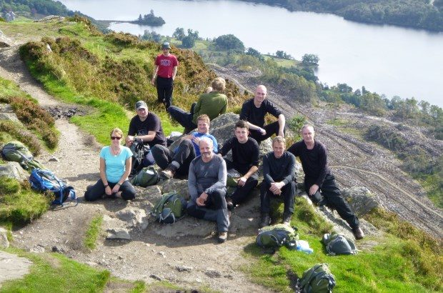 Participants on the Positive Futures programme on the hillside