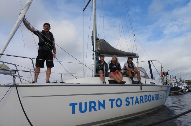 A crew of veterans on board Bluster, the charity's sail training yacht, Copyright Turn to Starboard, All rights reserved