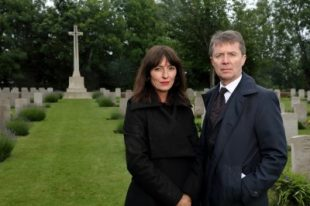Davina McCall and Nicky Campbell pictured side by side at grave site